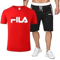 FILA Trending Men Casual Print Short Sleeve T-Shirt Top Shorts Set Two-Piece Red