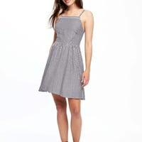 Fit & Flare Linen-Blend Dress for Women | Old Navy