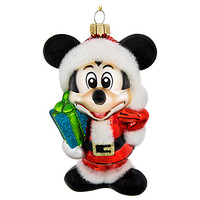 Santa Mickey Mouse Glass Ornament | Disney Store