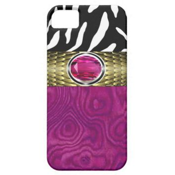 Zebra and Burl Wood with Jewel Accent (fuschia) iPhone 5 Cases from Zazzle.com