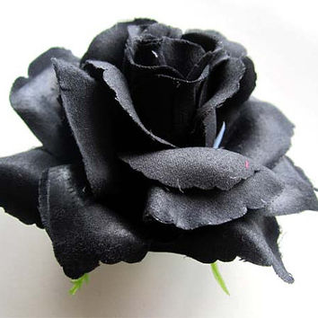 4 Black Roses Artificial Silk Flower Heads - 3.75 inches - Wholesale Lot - for Wedding Work, Make Hair clips, headbands, hats