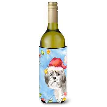 Christmas Lights Shih Tzu Puppy Cut Wine Bottle Beverage Insulator Hugger CK2494LITERK
