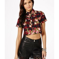 Missguided - Vilija Floral and Tartan Crop Top