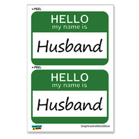 Husband Hello My Name Is - Sheet of 2 Stickers