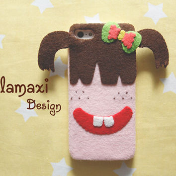 Handmade Little Girl Phone Case, Felt Girl iPhone Case, Pink Felt Case for iPhone 4/4S/5/5S/5C, Personalized Phone Case, Gift Ideas