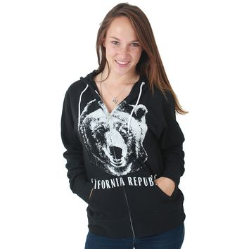 California Republic Grizzly Bear Zip-Up Hoodie