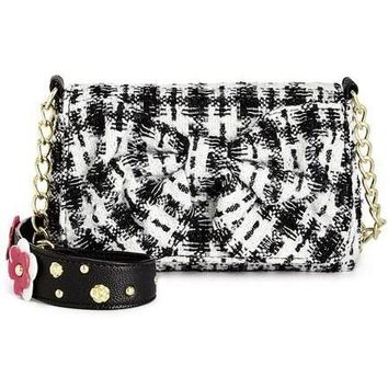 Betsey Johnson Tweed Floral Quilted Bow Front Shoulder Bag