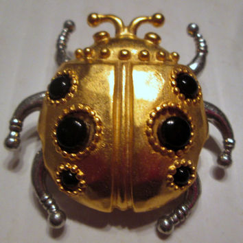 Vintage JJ Jonette Jewelry pin brooch rare Steampunk Ladybug- Artifacts 1986, unique gift collectible, new old stock made in USA,