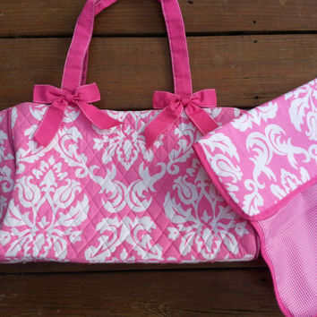 Monogrammed Pink and White Damask Diaper bag
