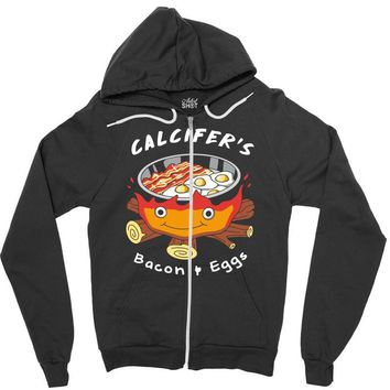 calcifer's bacon and eggs Zipper Hoodie