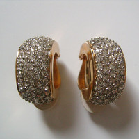 NINA RICCI Gold Plated W/ Round Cut Pave Crystal Rhinestone Small Hoop Style Clip on Back Earrings Excellent Condition Absolutely Beautiful