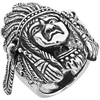 Large Indian Head .925 Sterling Silver Ring