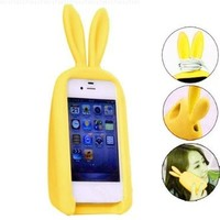 3D Cute Silicon Animal Rabbit Ear Case Stand Cover for iPhone 4 4S Yellow