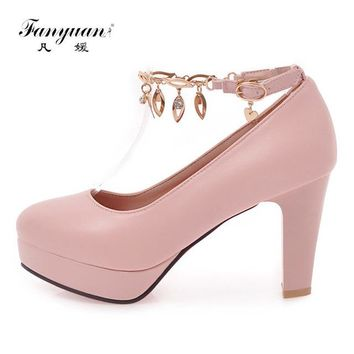 Fanyuan Fashion High Heel Platform Shoes Women Rhinestone Chain Woman Stiletto High Heels Pumps Sweet Lady Lolita Wedding Shoes