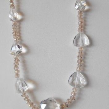 Vintage Clear & Pink Glass Beaded Necklace