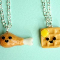 Handmade Chicken & Waffles Best Friend Necklaces