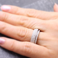 925 sterling silver pave cz band spinner ring