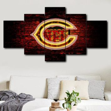 Sports logo Chicago Bears modern wall decoration painting 5 pieces home decoration wall home decor Canvas Painting Calligraph