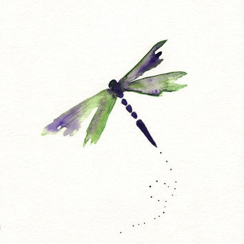 Beauty Fly/Dragon Fly/Purple, Green, dragonfly watercolor/