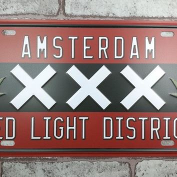 Amsterdam Red Light District License Plate - Cannabis Home Decor - Weed Leaves