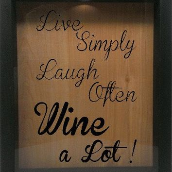 "Wooden Shadow Box Wine Cork/Bottle Cap Holder 9""x11"" - Live Simply Laugh Often Wine a Lot"