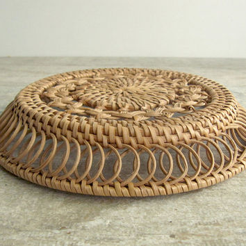 Round Flat Woven Basket - small vintage light brown basket - handmade home decor - country chic