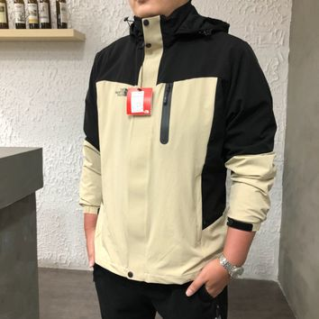 """The North Face"" Men Sport Multicolour Casual Letter Print Long Sleeve Zip Cardigan Medium Long Section Jacket Coat"
