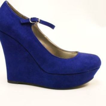 G By Guess Paije Dark Blue Suede Wedges Heels Women's  8 M
