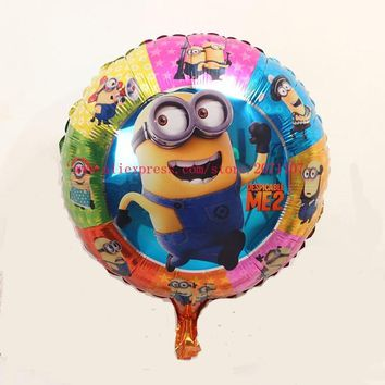 Lucky 30pcs/lot 45*45cm Round Despicable Me Minions Balloon Birthday Party Decorations Foil Helium Balloons Cartoon Air Globos