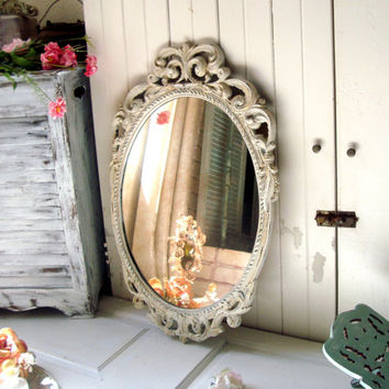 Antique White Ornate Vintage Mirror, Oval Mirror, Distressed White Patina French Farmhouse Mirror, Light Weight Mirror, Shabby Chic Mirror