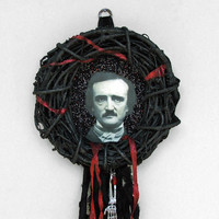 Halloween wreath - Edgar Allan Poe Wreath - gothic art, dark art, black and red, tattered, skeleton arm, blood drop