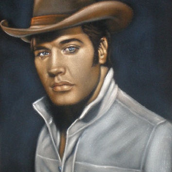 Young cowboy Elvis Presley The king  black velvet original oil painting handpainted signed art 18 by 24 inches