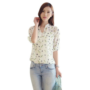 Fashion Women V-Neck Girl Print Chiffon Button Down Blouse Long Sleeve Shirt New Arrival