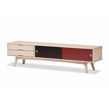 Scandinavian Inspired Multi-colored Solid Rubberwood TV Stand By Baxton Studio