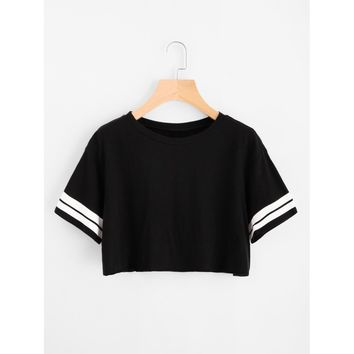 Varsity Striped Crop Tee