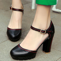 Mary Janes 2016 new Europe PU leather high heel Round Toe PUMPS strap shoes sandals with a word