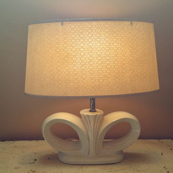 MCM Beige Ceramic Lamp Winged Design Fiberglass Shade Art Deco Design