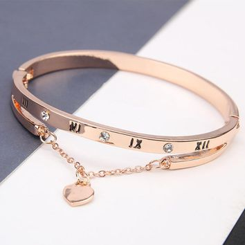 Luxury Famous Pandora Jewelry Rose Gold Stainless Steel Bracelets & Bangles Female Heart Forever Love Charm Bracelet For Women