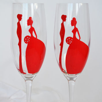 Hand painted Toasting Flutes Set of 2 Personalized Champagne glasses Red Wedding  with Crystals