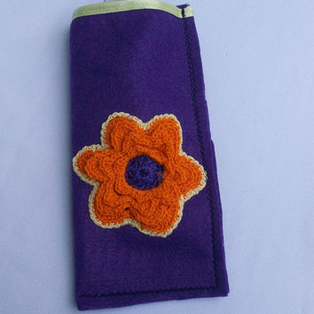 Purple Glasses Case with Orange Flower and Yellow Trim, Sunglasses Pouch