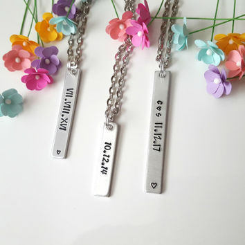Vertical Bar Necklace, Personalized Necklace, Hand Stamped Necklace, Gift for Girlfriend, Gift for Wife, Name Bar Necklace, Wife Christmas