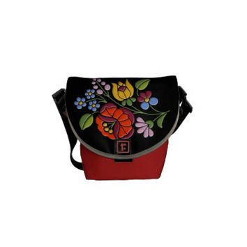 Kalocsa Embroidery - Hungarian Folk Art black bg. Courier Bag from Zazzle.com