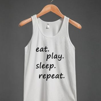 eat. play.sleep, repeat wht tank top-jh - glamfoxx.com - Skreened T-shirts, Organic Shirts, Hoodies, Kids Tees, Baby One-Pieces and Tote Bags