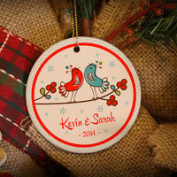 Lovely Just Married or Engaged Birds Personalized Christmas Ornament!