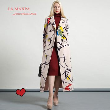 La MaxPa high quality wool printed warm winter coat women turndown collar long coat overcoat female casual double breasted