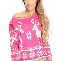 Magenta Knitted Fair Isle Sweater