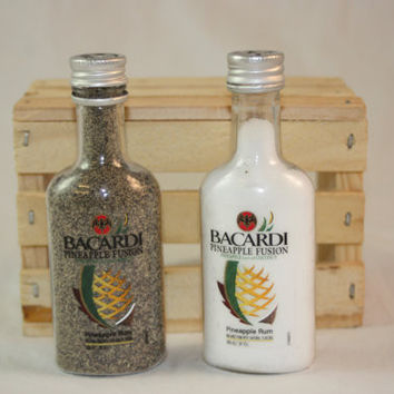Salt & Pepper Shakers Upcycled from Bacardi Pineapple Mini Liquor Bottles