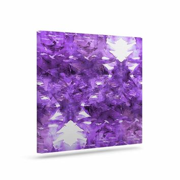 "Ebi Emporium ""Feels Like Floating, Purple"" Green White Abstract Pattern Watercolor Mixed Media Art Canvas"