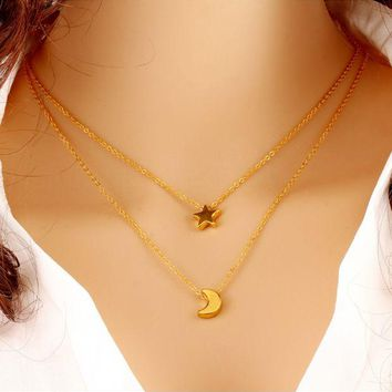 ONETOW Multi - story chain necklace big temperament pentagonal star moon chain clavicle chain