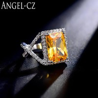 ANGELCZ Perfect Rectangle Cut Yellow Cubic Zirconia Stone 925 Sterling Silver Luxury Wedding Party Ring Jewelry For Women AR014